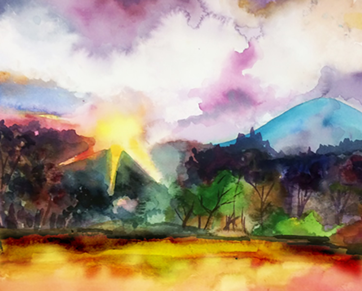 mountain sunrise watercolor painting class