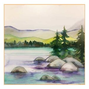 Tahoe Shore watercolor paint and sip class
