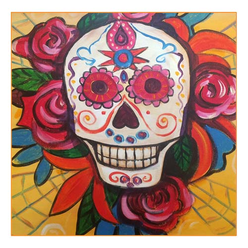 Sugar skull acrylic paint and sip class